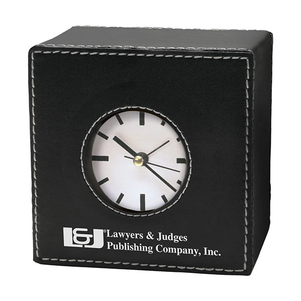 Leatherette Desk Clock